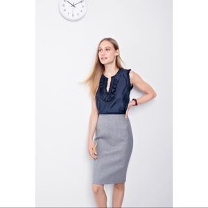 J. Crew Wool No.2 Pencil Skirt Gray Size 4
